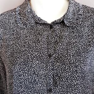 H & M black and white dot blouse